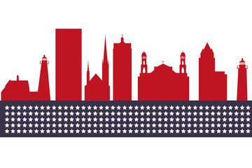 Milwaukee, Wisconsin skyline. Detailed vector silhouette