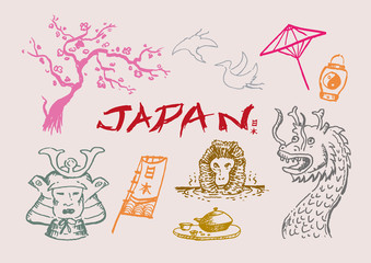 Japan Cultural hand sketch collection 1 Vector