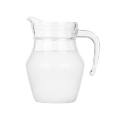 milk in jar isolated on white background