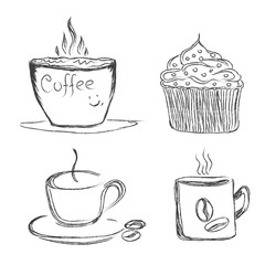 coffee, illustration, sketch, vector, illustration