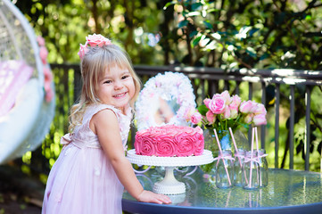 Little girl celebrate Happy Birthday Party outdoor