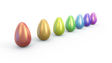 Easter eggs in rainbow row perpective