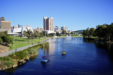 View of Elder Park in Adelaide and River Torrens