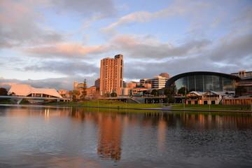 The Adelaide skyline taken at dusk