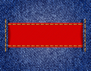 Denim texture with label ribbon. Vector