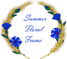 wreath frame with cornflowers and ears vector illustration