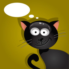Black cat with a cloud of thoughts. Vector illustration