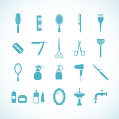 Set of hairdressing equipment icons. Vector illustration eps8