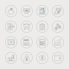 financial line icon set