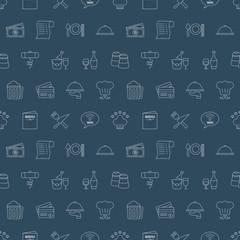 Restaurant line icon pattern set