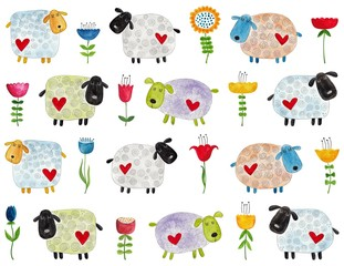 Sheep and flowers. Watercolors on paper