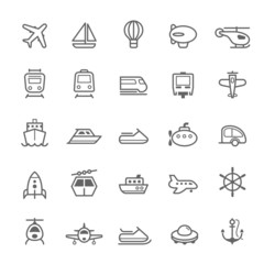 Transport icons Outline Stroke on White Background