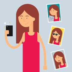 Selfie, female character, flat style
