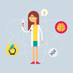 Character - scientist. Vector illustration, flat style