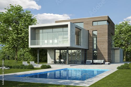 Moderne villa 3 beton holz stockfotos und lizenzfreie for Modernes haus villa