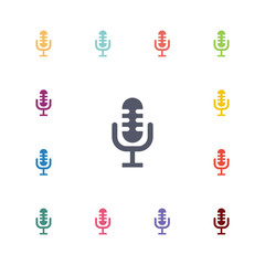 microphone flat icons set