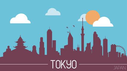 Tokyo Japan skyline silhouette flat design vector