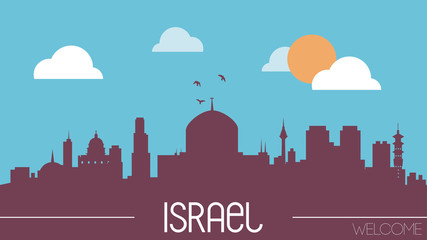 Israel skyline silhouette flat design vector illustration