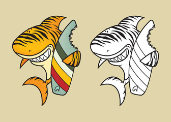 Funny tiger shark with surfboard coloring book