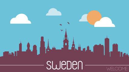 Sweden skyline silhouette flat design vector illustration