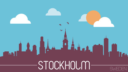 Stockholm Sweden skyline silhouette flat design vector