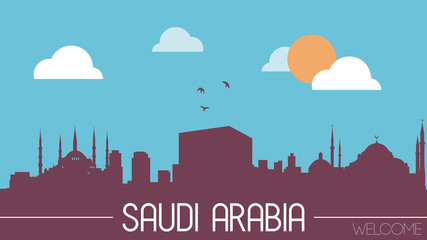 Saudi Arabia skyline silhouette flat design vector illustration