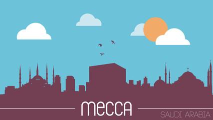 Mecca Saudi Arabia skyline silhouette flat design vector