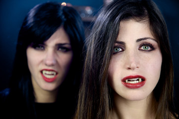 Scary female vampires looking closeup