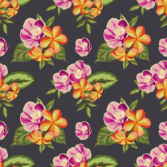 Seamless vintage pattern with painted flowers