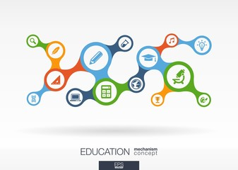 Education growth abstract background - connected metaball icons