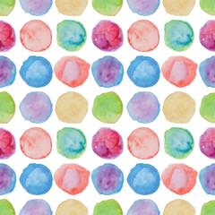 Watercolour polka dot seamless pattern.