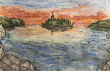 Landscape with church on sunset, watercolours