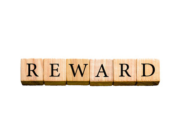 Word REWARD isolated on white background with copy space