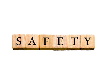 Word SAFETY isolated on white background with copy space