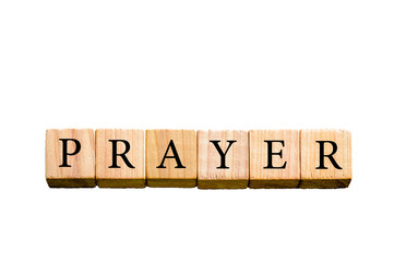Word PRAYER isolated on white background with copy space
