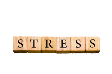 Word STRESS isolated on white background with copy space