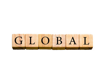 Word GLOBAL isolated on white background with copy space