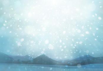 Winter scene snowfall background.