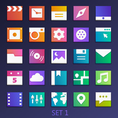 colorful flat square icons-set 1