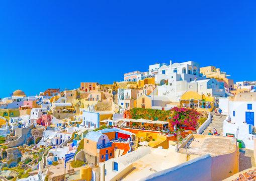 View of Oia village in Santorini island in Greece