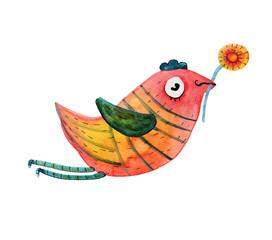 Bird with flower. Vector