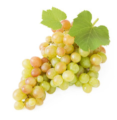 Grapes branch closeup isolated on white