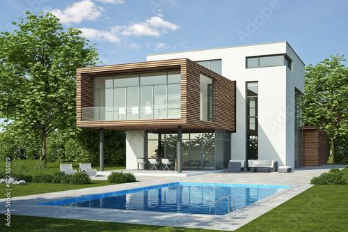 moderne villa 3 weiss holz stockfotos und lizenzfreie bilder auf bild 81236609. Black Bedroom Furniture Sets. Home Design Ideas