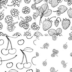 Seamless berry pattern set
