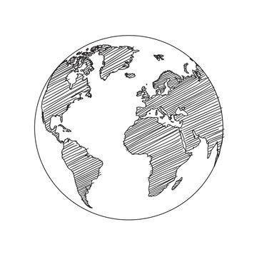 World map globe sketch vector