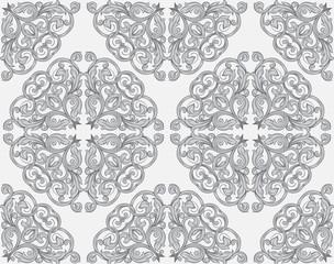 Vintage seamless monochrome pattern drawing