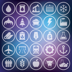 Icons set, industrial and transport pictogram