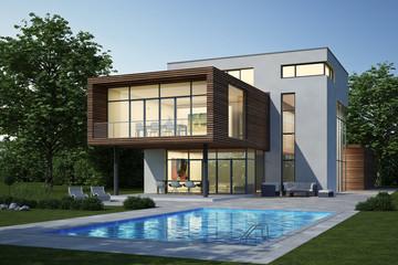Moderne Villa 3 weiss holz Abend