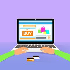 laptop on line shopping hands type buy flat design