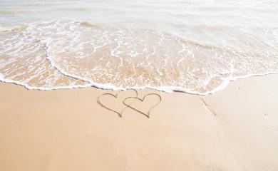 Herzen am Strand